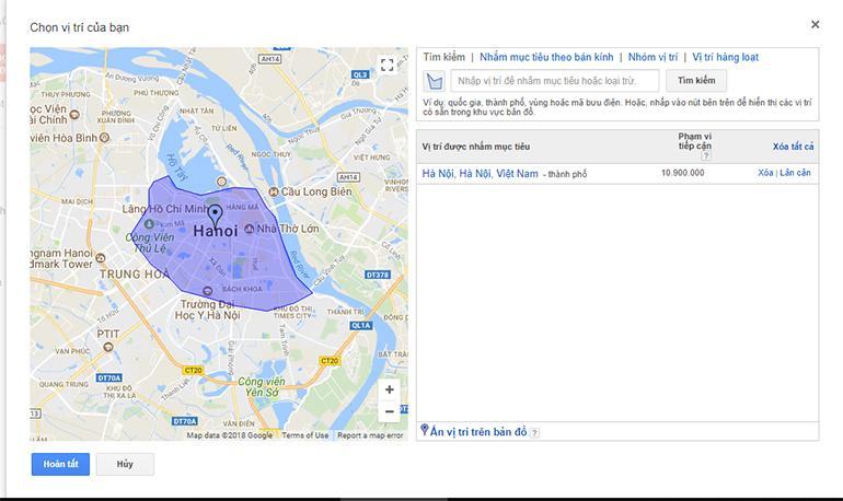 Có thể nhắm mục tiêu quảng cáo Google Adwords đến nhiều vị trí địa lý mong muốn không?