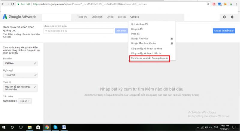 Hướng dẫn kiểm tra vị trí quảng cáo google trên kết quả tìm kiếm