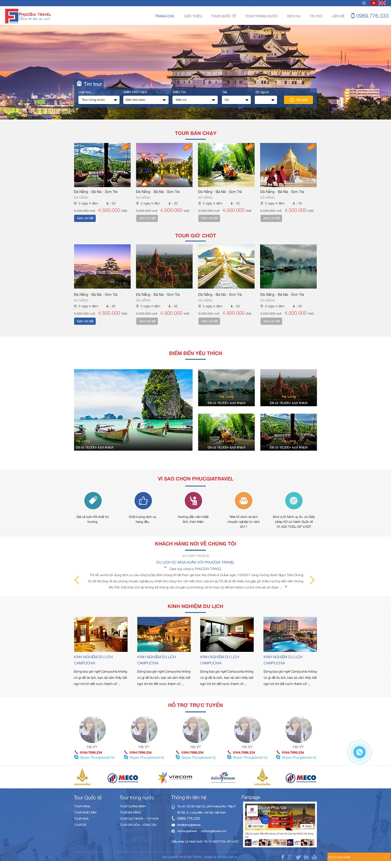 Thiết kế website Du lịch PhucGia Travel